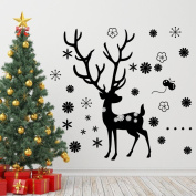 BIBITIME Black Large Antlers Christmas Deer Window Stickers Nursery Reindeer Wall Decal Elk Vinyl Art Mural Snowflake Decor Sticker