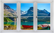 60cm Window Landscape Scene Nature View CANADA MOUNTAIN LAKE DAY #2 WHITE CLOSED Wall Sticker Room Decal Home Office Art Décor Den Mural Man Cave Graphic SMALL