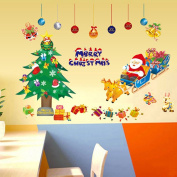 Wallpark Christmas Tree Santa Claus Reindeer Gifts Bells Removable Wall Sticker Decal, Children Kids Baby Home Room Nursery DIY Decorative Adhesive Art Wall Mural