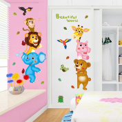 Wallpark Cartoon Animal World Cute Monkey Lion Giraffe Bear Removable Wall Sticker Decal, Children Kids Baby Home Room Nursery DIY Decorative Adhesive Art Wall Mural