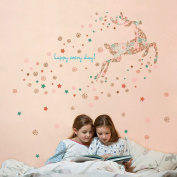 Wallpark Romantic Christmas Stars Snowflake Reindeer Removable Wall Sticker Decal, Children Kids Baby Home Room Nursery DIY Decorative Adhesive Art Wall Mural