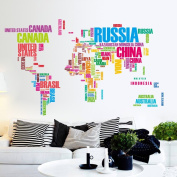 Wallpark Colourful Alphabet World Map Removable Wall Sticker Decal, Living Room Bedroom Home Nursery Decoration Adhesive DIY Art Wall Mural