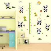 Wallpark Cute Cartoon Pandas Having Fun Height Sticker, Growth Height Chart Measuring Removable Wall Decal, Children Kids Baby Home Room Nursery DIY Decorative Adhesive Art Wall Mural