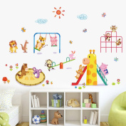 Wallpark Cartoon Animal Paradise Cute Lion Monkey Rabbit Owl Having Fun Removable Wall Sticker Decal, Children Kids Baby Home Room Nursery DIY Decorative Adhesive Art Wall Mural