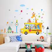 Wallpark Early Education Cartoon Cute Animals Panda Giraffe Monkey Removable Wall Sticker Decal, Children Kids Baby Home Room Nursery DIY Decorative Adhesive Art Wall Mural