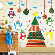 Wallpark Cartoon Cute Penguin Christmas Tree Removable Wall Sticker Decal, Children Kids Baby Home Room Nursery DIY Decorative Adhesive Art Wall Mural