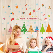 Wallpark Colourful Christmas Tree Gifts Candy Baseboard Removable Wall Sticker Decal, Children Kids Baby Home Room Nursery DIY Decorative Adhesive Art Wall Mural
