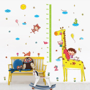 Wallpark Cute Cat Pig Giraffe Height Sticker, Growth Height Chart Measuring Removable Wall Decal, Children Kids Baby Home Room Nursery DIY Decorative Adhesive Art Wall Mural