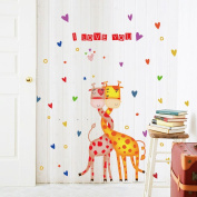 Wallpark Cartoon Love Heart Cute Giraffe Couple Removable Wall Sticker Decal, Children Kids Baby Home Room Nursery DIY Decorative Adhesive Art Wall Mural