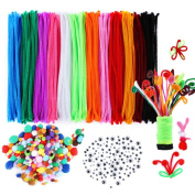 Caydo 540 Pieces Pipe Cleaners Set, Including 240 Pcs 12 Colours Chenille Stems, 100 Pcs 4 Size Wiggle Googly Eyes and 200 Pcs Pom Poms for Craft DIY Art Supplies