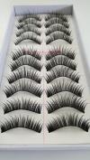 Taiwan 10 pairs Reusable Long Thick Crossover Natural Soft False Eyelashes Fake Eye Lash for Makeup Cosmetic #030
