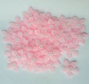 Ribbon Flowers Bows Pink with White Beads Crafts Project 50 Pcs