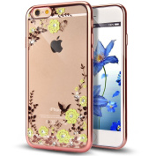 iPhone 5/5s/se Crystal Clear TPU Case-Auroralove iPhone Se Beauty Fashion Flower Butterfly Bling Rhinestone Hybrid Bumper Cover for iPhone 5/5s