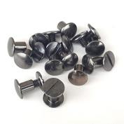 10 Pack 0.6cm Black Nickel CHICAGO SCREWS Solid Belt/Tack Screw Post