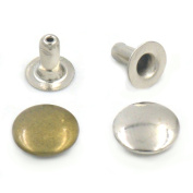"400 Sets One Sided Cap 8mm 3/10"" Nickel Round Rivets Stud Snap Button"