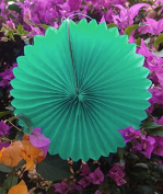 Quasimoon 30cm Cool Mint Green Tissue Paper Flower Rosette Fan Decoration (6 Pack) by PaperLanternStore