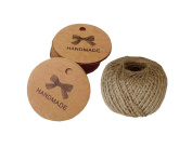 """ACMEDE 100 PCS Kraft Gift Tags 4.34.3cm """"HANDMADE"""" Label Birthday Luggage Tags Paper Wedding Labels Brown Hang Tag with 30 Metres Jute Twine"""