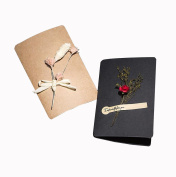 6PCS Handmade Greeting Card and Hemp Rope Set-- Feature Floral Art Paired Blank Folding Kraft Paper Card Dried Flowers Decorated Postcard for DIY and Lover Birthday Xmas Party