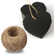 G2PLUS 100PCS Black Paper Gift Tags Wedding Brown Kraft Hang Tag Bonbonniere Favour Gift Tags with Jute Twine 30 Metres Long for Crafts & Price Tags