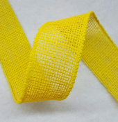 3.8cm Burlap Ribbon - 5 Yds - Finished Edge Wired - 100% Natural Jute Burlap Ribbon - Craft Decor Burlap Rustic Bright Yellow