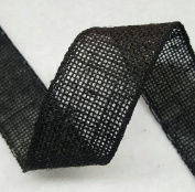 6.4cm Burlap Ribbon - 5 Yds - Finished Edge Wired - 100% Natural Jute Burlap Ribbon - Craft Decor Burlap Rustic Black