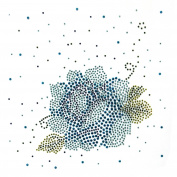 Korea Rhinestone Fabric Transfer Motif T-shirt Clothing Dress Blue Rose Vine 3 Sheets