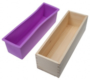EVINIS Flexible Rectangular Soap Silicone Mould with Wood Box for Homemade 900g950ml Soap Making Supplies,Homemade Swirl Cold Process DIY Soap