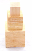 Nesting Blocks - 3 Solid Natural Unfinished Hard Wood Cubes 10cm , 7.6cm , and 5.1cm