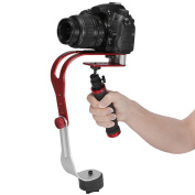 Pro Handheld Steadycam Video Stabiliser Handle Grip Steady Support for Canon Nikon Sony Camera Cam Camcorder DV DSLR - Rubber Handle, Red & Black