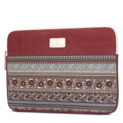33cm Unisex Bohemian Style Laptop Sleeve Case Bag Water-resistant Canvas Tablet Protector Bag for Macbook Pro Retina Case, Horizontal Wine Red