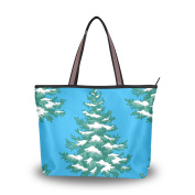 Merry Christmas JSTEL Extra Large Handbags for Women,Cartoon Blue Xmas Tree,Fashion Design Ladies Shoulder Tote Bag