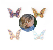 CellElection 4pcs 5.1cm of Butterfly Baby Girls Leather Sandstone Bowknot Women Hairpin