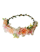 Ajetex Flowers Crown Orange Adjustable Flowers Hair Wreath Garland Headband Party Wedding Festivals