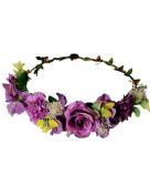 Ajetex Flowers Crown Purple Adjustable Flowers Hair Wreath Garland Headband Party Wedding Festivals