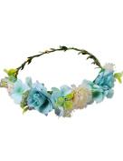 Ajetex Flowers Crown Blue Adjustable Flowers Hair Wreath Garland Headband Party Wedding Festivals
