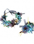 Ajetex Flowers Crown Blue Adjustable Flowers Hair Wreath Garland Headband Party Wedding Festivals Wrist Band Set