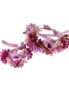 Ajetex Flowers Crown Purple Adjustable Flowers Hair Wreath Garland Headband Party Wedding Festivals Wrist Band Set