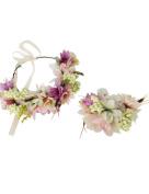 Ajetex Flowers Crown Purple+Beige Adjustable Flowers Hair Wreath Garland Headband Party Wedding Festivals Wrist Band Set