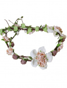 Ajetex Flowers Crown Coffee+Beige Adjustable Flowers Hair Wreath Garland Headband Party Wedding Festivals