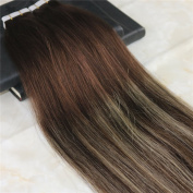 HairDancing 60cm Seamless Tape in Ombre Hair Extensions Glue PU Hair Balayage Ombre Colour Darker Brown to Light Blonde to Darker Brown Full Head Remy Premium Hair Extensions 50g 20Pcs