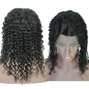 WINBOWIG Deep Curl Brazilian Human Hair Natural Black Full Lace Glueless Wig All Hand Tied Cap with Adjustable Tape