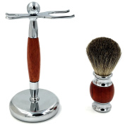 Rosewood Classic Shaving Stand Razor Brush Stand Holder-Genuine Badger brush-Stainless Steel Weighted Base for Gent mens