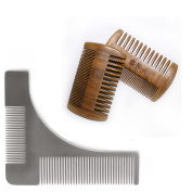 Stainless Beard Styling and Shaping Template Comb Tool And Beard & Moustache Green Sandalwood Comb Brush