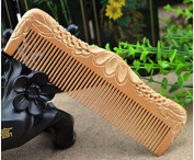 Peachwood Comb Flowery Engraving on full comb Back.
