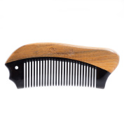 Breezelike Sandalwood Hair Comb - No Static Wooden Detangling Pocket Beard Comb, Handmade with Natural Black Buffalo Horn and Green Sandalwood