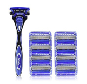 NEW Schick Hydro 5 Shaving Starter Gift Set for Men with 1 - Hydro 5 Razor for Men and 9 - Hydro 5 Razor Blade Refills for Men