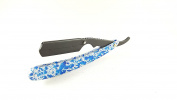 Matted Straight Razor with Spotted Blue Colour Cutthroat Razor Shaving Derby Dorco Feather Shaving