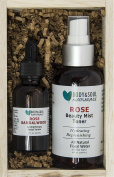 Rose Beauty Gift Set - Rose Face Mist + Rose/Sandalwood Facial Serum