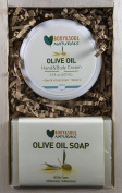 Olive Oil Hand and Body Cream + 2 Natural Olive Oil Soaps Holiday Gift Set - Moisturise! Bath and Body Gift Set