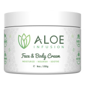 Aloe Infusion Face & Body Moisturiser Cream - With Organic Aloe Vera, Shea Butter, Coenzyme Q10, Grape Seed Oil, Kukui Nut Oil - For Acne, Eczema, Psoriasis, Sensitive Skin, Dry & Itchy Skin.